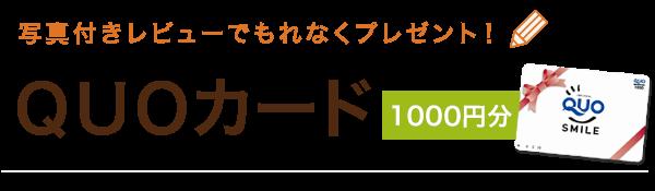 写真付きレビューでもれなくプレゼント! QUOカード 1000円分