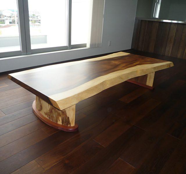 一枚板 モンキーポッド座卓テーブル