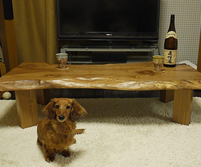 一枚板 楡のテーブル