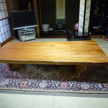 一枚板ケヤキ座卓