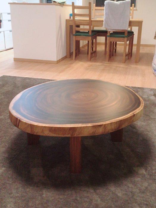 一枚板モンキーポッド輪切りテーブル