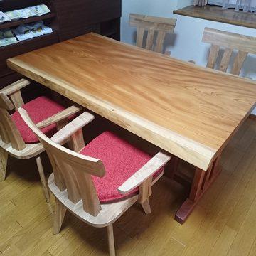 一枚板ケヤキダイニングテーブル