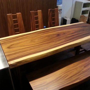 一枚板モンキーポッドダイニングテーブルセット