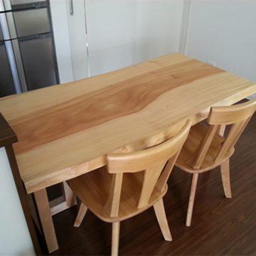 栃 一枚板テーブルセット