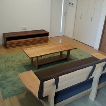 タモ材 センターテーブル ソファ