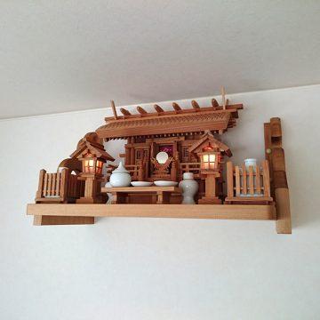 彫屋根三社 神棚セット