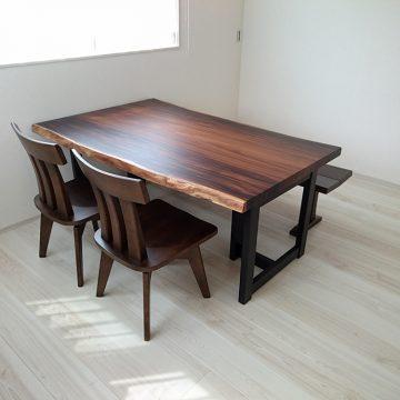 一枚板モンキーポッドのダイニングテーブルセット