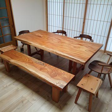 一枚板 欅ダイニングテーブルセット