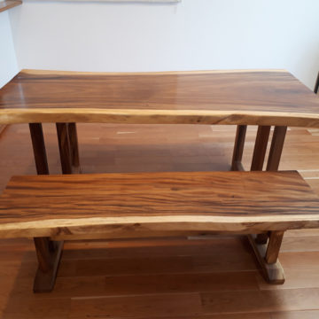 一枚板モンキーポッドベンチ ダイニングテーブル