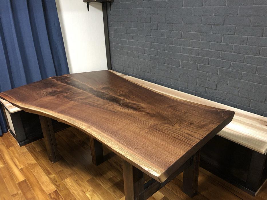 一枚板ブラックウォルナット ダイニングテーブル