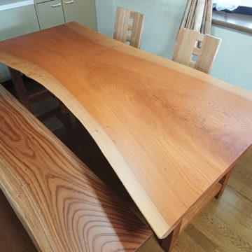 欅の一枚板ダイニングテーブルセット