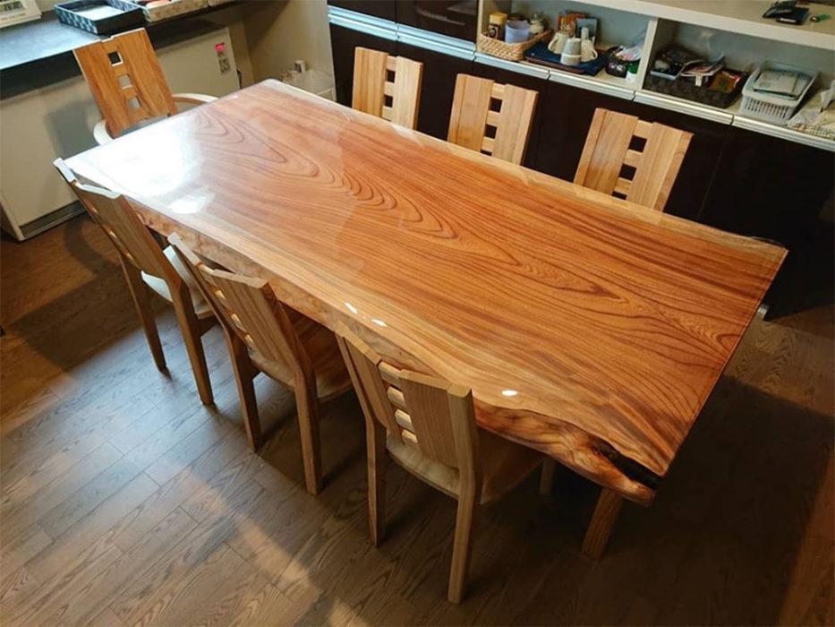 一枚板 欅のダイニングテーブルセット